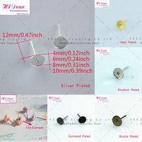 Wholesale Metal 4/6/8/10mm  Gold/Silver(5 Colors)Plated  Flat Pad Ear/Earring Studs Earrings DIY Findings Bulk For Women/PT2