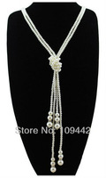 Free Shipping Fashion Joker Crystal & Double-layer Pearl Necklace Long Sweater Accessories Necklace GN149