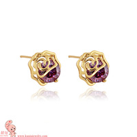 High quality super shiny Rose Ear nail wholesale zircon earrings female(KUNIU ERZ00216)