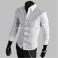 Free Shipping New Men's Shirts,Classics Small Dot Shirts,Casual Slim Fit Stylish Dress Shirts Color:White,Black,size M-XXL
