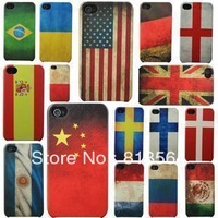 100pcs/lot,  new fashion vintage polish flag plastic Case Cover for Iphone 4 4s, 11 colors style,DHL  free shipping