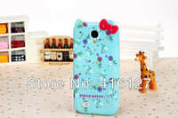 New Cute 3D Hello Kitty flowers TPU Soft Case Cover for Samsung Galaxy S4 SIV I9500