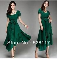 Free Shipping Plus Size 2013 Summer New Arrival Elegant Puff Sleeve Irregular Long Chiffon Dress Green/Black