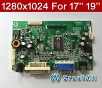 100% NEW driver board for 17'' 19'' KM56AKDVL VGA+DVI 1280*1024 Resolution LCD AD board,Free shipping