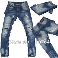 2014 Brand Mens Hole Jeans Ripped Design Washed D Blue Jeans Pants Straight Leg Fashion Men Long Denim Jeans D83