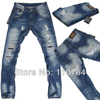 2014 Brand Mens Hole Jeans Ripped Design Washed D Blue Jeans Pants Straight Leg Fashion Men Long Denim Jeans D83