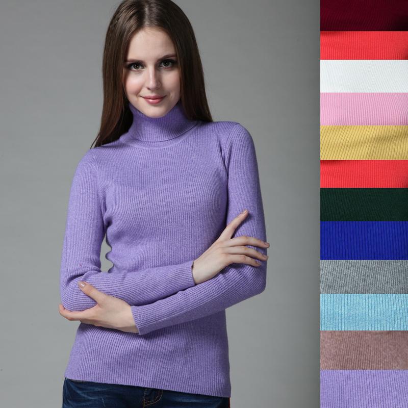 16 farben! Hochwertige neue 2014 herbst rollkragen frauen kaschmirwolle pullover lang- Ärmel entwickelt grundlegende strickpullover
