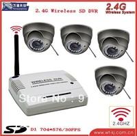 2.4g 4ch wireless dvr,security dvr ,4PCS wireless camera, remote controller