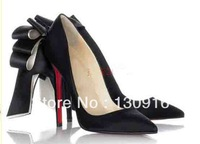 Free shipping 2013 new arrive fashion pumps silk satin bow knot high heels Red soles bottoms prom shoes for womens