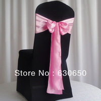 free shipping 100 pieces Coral Satin Chair Cover Sash Satin Sash