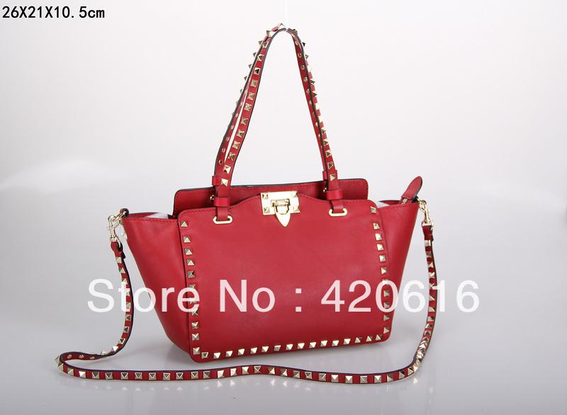 2013 Brand New Designer Fashion Pyramid Studded Rockstud Medium Authentic Real Vitello Leather Ladies Women Tote Handbag Sale(China (Mainland))