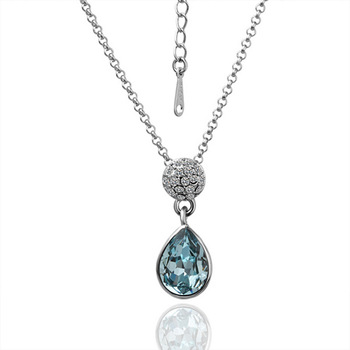 2013 new  crystal  plating white gold with  necklace polymer clay flower jewelry jelly chain quantum pendant