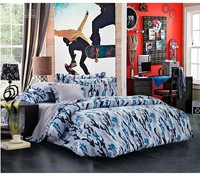 Newest Blue Camouflage Cool Bedding sets Queen Full size for boys mens Reversible Quilt Cover Grey Bed Sheet set Bed Linen Bed i