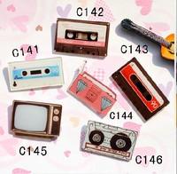 (MIN MIX ORDER IS $10 FREE SHIPPING)New arrival acrylic badge customize HARAJUKU badge vintage tape radio tv machine
