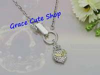 Free Shipping Mini Crystal Heart Pendant Necklace Fashion Jewelry Gold/Silver Plating Top Quality (Dust Bag,Gift Box) #JCN057