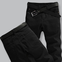 Summer plus size plus size male jeans men's clothing loose trousers black male straight casual trousers