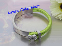 Free Shipping Lady Fashion Bangles Designer Logo Gold/Silver Plating Top Quality Package (Dust Bag,Gift Box) #JCB467-Green