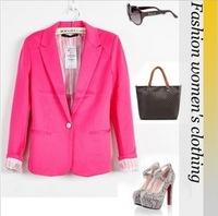 new 2013 hot sell  candy WOMAN SUIT BLAZER FOLDABLE BRAND JACKET women clothes suit  one button shawl cardigan Coat