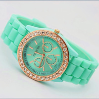 FOB price fashion jewelry rose diamond stone Geneva watch candy jelly silicone band Unisex Quartz crystal watches