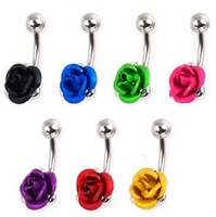MOQ15USD Anti-allergic medical rose navel ring belly ring