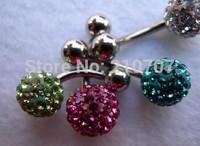 MOQ15USD clay rhinestones  belly ring luxury full rhinestone 8mm ball navel ring