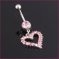 MOQ15USD Accessories navel ring accessories umbilical ring pink heart needle