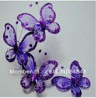 Free shipping 50pcs purple butterfly Wedding Decoration 5cm