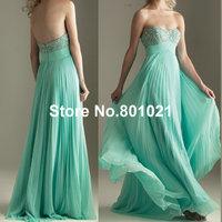Unique A-line Strapless Chiffon Beaed Mint Green Rhinestone Slim Long Real Prom Dress 2014