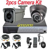 Free shipping 2ch cctv kit whole set cctv security system 700TVL surveillance monitor camera 4ch HD DVR digital video recorder