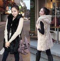 2014 New arrvied  autumn and winter women thermal faux vest fur cape vest  ladies fur vest hooded  coat medium-long outerwear