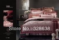 Hot sale! purple comforter sets SILK duvet cover sets full twill bedding sets satin bed skirt cotton bedspread dobby bedclothes