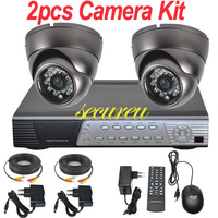 Free shipping 2ch cctv kit whole cctv system install IR cctv security indoor dome camera 4ch full D1 DVR digital video recorder