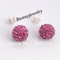 Fashion Jewelry Silver Plated Shamballa Crystal 10MM Ball Earring Stud Rose Pink Drop Ship Min.order is $10 Free Shipping