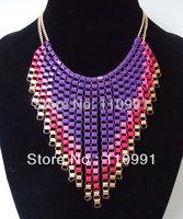 2013 New Arrival Unique Design Purple Green Handmade Lond Tassel Bib Choker Chunky Statement Necklaces for Women