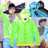 Summer 2015 new neon green net fabric long-sleeve shirt male shirt free shipping