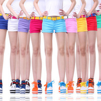 Girls GENERATION single-shorts low-waist faux denim casual 100% cotton candy multicolour shorts summer female