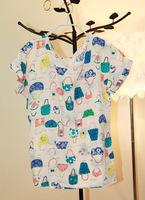 2013 female summer loose cute bags fresh print chiffon shirt short-sleeve chiffon top female