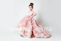 2013 Newest Designed Pink Organza Sleeveless Bridal Flower Girl Dress