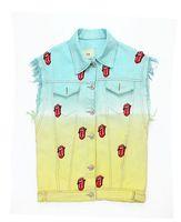 Ice cream candy color gradient lisper applique vest bf denim vest outerwear jacket