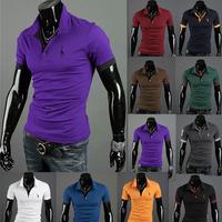 Free shipping 2013 Hot-selling 2013 New Men's Polo T-Shirts Casual Slim Fit Stylish Short-Sleeve Shirt Cotton T-shirt Size:M-XXL