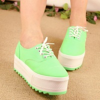 Free shopping Wave type the loggerhead platform shoes round toe casual shoes female shoes lacing shoes 2013