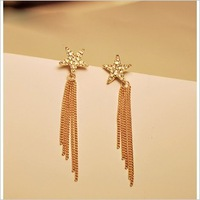 2013 Fashion jewelry,Artificial crystal full star drop earrings for women,Gold plated tassel long drop earrings E439