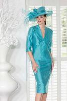 free shipping plus size Blue Taffeta Beading half sleeve Tea-length with Jacket Wedding Mother of the Bride Dress cocktail dress
