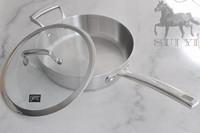 transparent lid stainless steel flat bottom pot fry wok exquisite