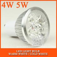 10pcs/lot GU10 High power led spotlight Bulb Lamp 4W 5W Warm white/cold white AC85-265V Free Shipping