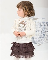 Free shipping autumn child small cape Shawl long sleeve t-shirt ruffle layered dress triangle set lovely girls three-piece suits