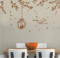 FREE SHIPPING Tv sofa wall stickers brown leaves Large jm7195