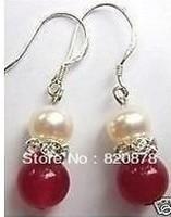 Wholesale Pair Of Red Jade Bead Pearl Earrings AAA + fashion jewelry