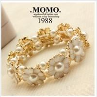 S44  new arrival fresh small daisy pearl petal elastic bracelet