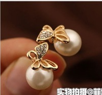 2013 Fashion jewelry,Simulated pearl ball stud earrings for women,Artificial crystal butterfly stud earrings gold plated E005